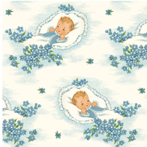 Welcome Baby Children's Fabric Yardage by Sara Morgan Vintage Baby Fabric White cotton background with baby blue flowers and baby on vintage pillow 44 inches wide