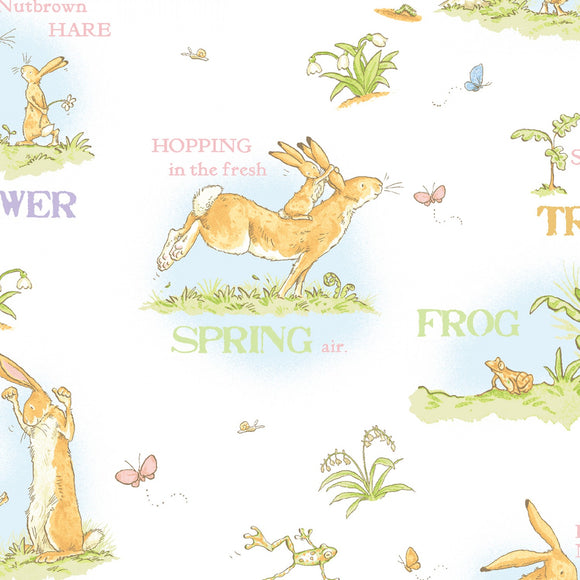 When I Am Big Children's Fabric Yardage from Clothworks 44 Inch Wide Cotton Multi Bunnies shades of Blue Green Yellow and White