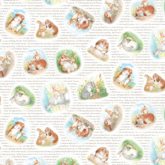 Cuddly Bunny Children's Fabric Yardage from Michael Miller Featuring Mama Rabbit and Bunny With Verses of Love on White Background