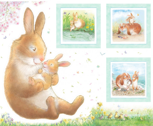 Hug A Bunny Children's Fabric Panel featuring mama and baby bunny in pastel colors.