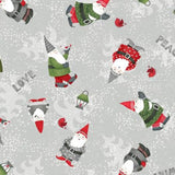 Winter Holiday Gnomes Christmas print fabric from Debbie Mumm gray and white background with Gnomes in red green and gray santa suits.