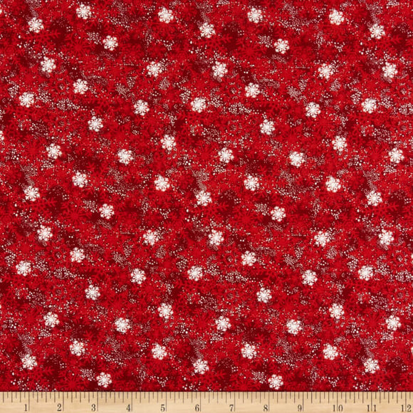 Winter Holiday Gnomes Christmas fabric from Debbie Mumm for Wilmington Prints  Red background with white snowflakes throughout
