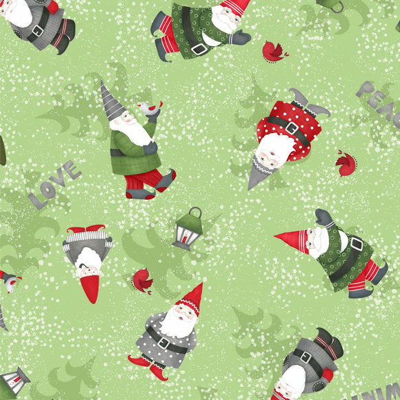 Winter Gnomes Holiday Christmas Fabric from Debbie Mumm for Wilmington Prints Colors of Green Red Blue Gray Black