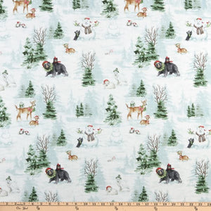 Woodland Friends Holiday Scenic Cotton Fabric White Background With Bears, Deer, Wolves and Snowmen