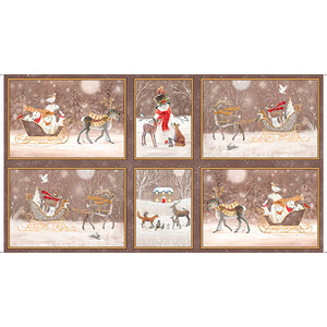 Woodland Dreams Winter vignette Christmas Holiday Panel in shades of taupe cream and red 24 x 44 inches