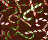 Christmas Theme Candy Cane Toss Cotton Fabric from A E Nathan Brown Green Red White 44-45 Inches Wide