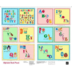 Alphabet Children's Soft Cloth Book Panel To Sew in bright primary colors