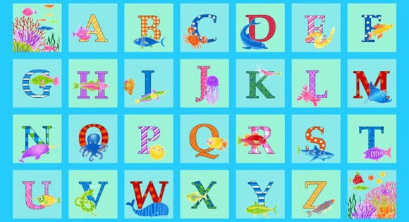 Alpha Fish Alphabet Children's Fabric Panel 23 x 44 Inches from Studio E Aqua Pink Green Purple Blue Pink Cotton