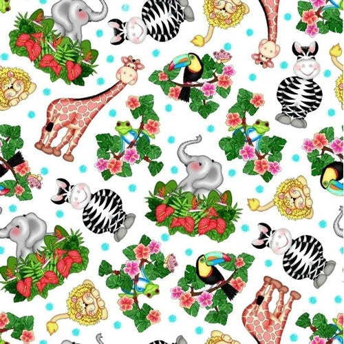 Bazooples Waterfall Tossed Cotton Children's Fabric Jungle Animals Zebras Elephants Giraffes In Bright Colors