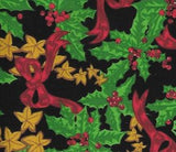 Christmas Holly and Holly Berry Cotton Fabric Black Background green holly red berries red bows and gold stars 45 inches wide