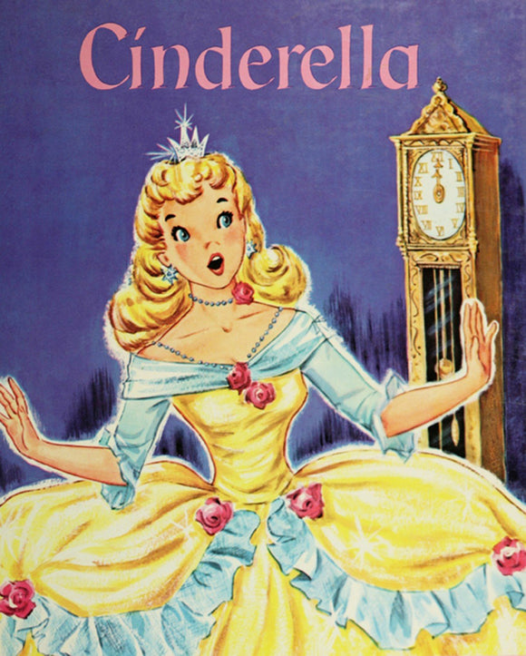 Cinderella Vintage Storybook Children's Fabric Panel from David Textiles 35.5 x 44 Inches Purple Blue Yellow Pink Gold