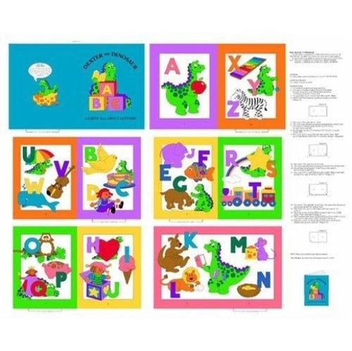 Dexter The Dinosaur Learns About Letters Children's Cloth Book Panel To Sew.  Dexter takes you on his journey of learning the alphabet in bright primary colors.
