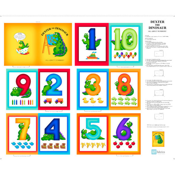 Dexter The Dinosaur Learns About Numbers Children's Soft Cloth Book Panel To Sew