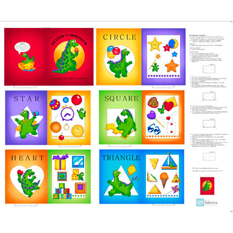 Dexter The Dinosaur Learns About Shapes in Primary Color Cloth Book Panel To Sew