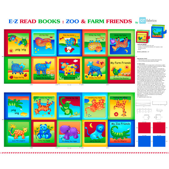 Zoo and Farm Friends Cloth Book Panel to sew from Quilting Treasures 16 x 36 inches zoo and farm animals cotton book