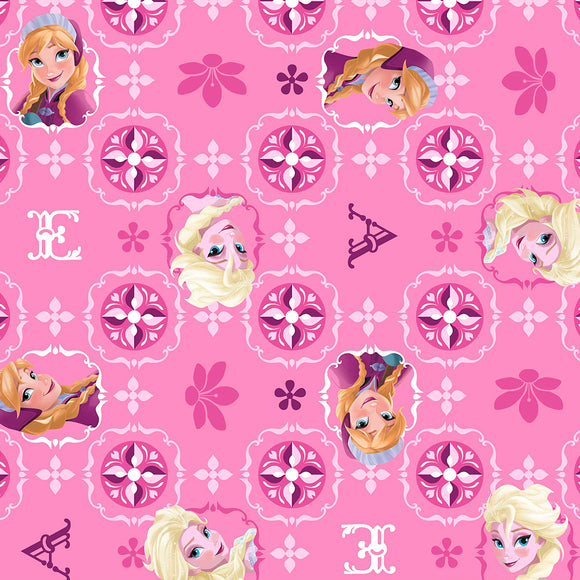 Frozen Children's Fabric Cotton Pink Background Elsa and Ana Images With Glitter