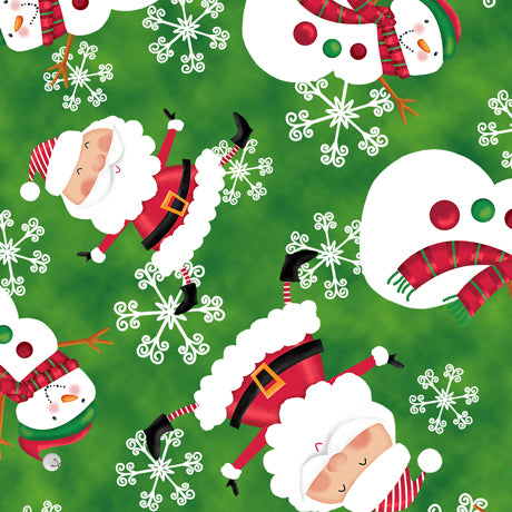HOLLY JOLLY SANTAS COTTON CHRISTMAS FABRIC BY QUILTING TREASURES
