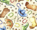 Horsin Around Children's Western Cotton Fabric Cowboy Boots Cowboy Hats Cream Brown Blue Green Orange Colors