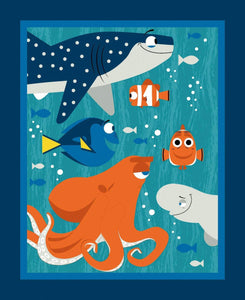 Disney Finding Dory Children's Cotton Fabric Panel 34 x 44 inch shades of blue turquoise orange and white