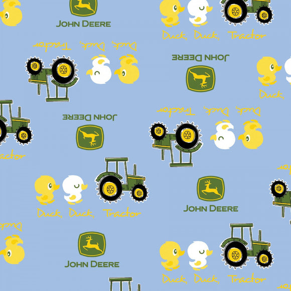 John Deere Children Blue Cotton Duck and Tractor fabric