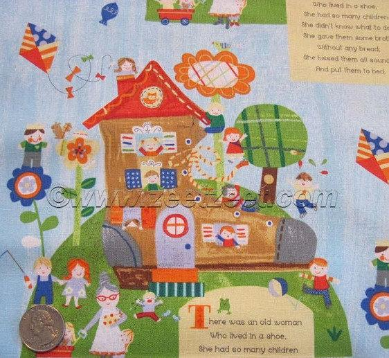 Mother Goose Tales Children's Cotton Fabric By The Yard The Old Lady In The Shoe