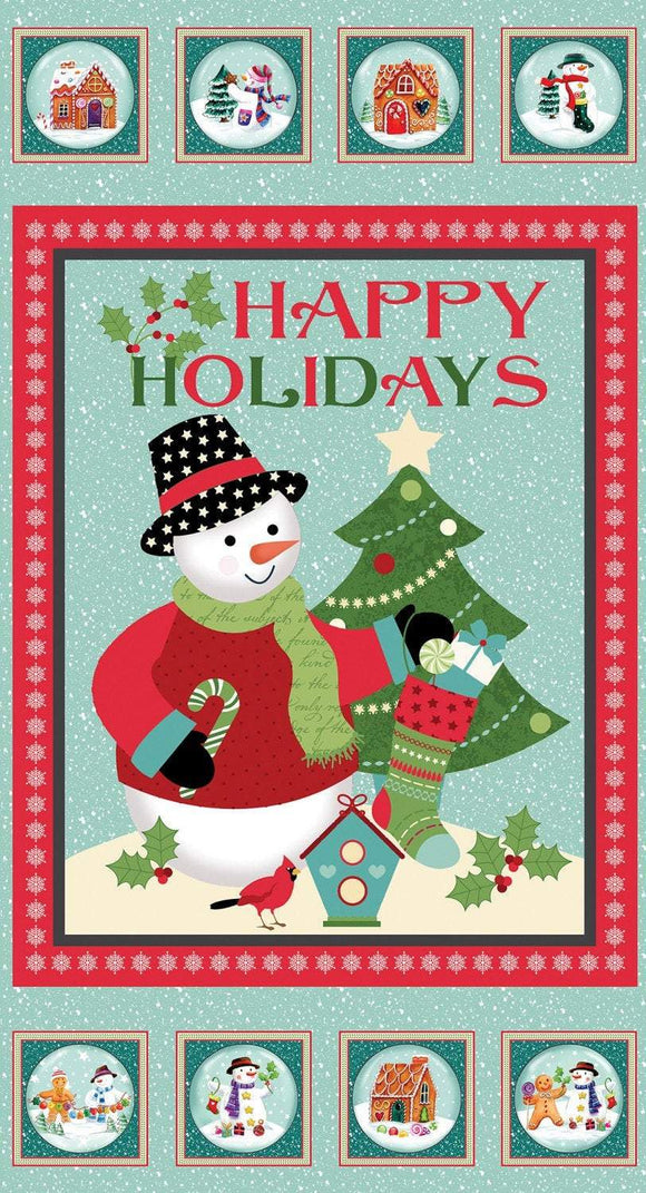 Happy Holidays Snowman cotton panel 24 x 44 inches in colors of red blue green black and white