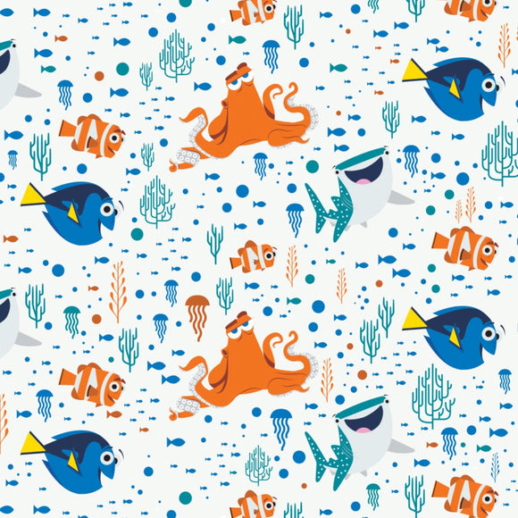 Finding Dory children's Disney cotton fabric colors of blues coral and white