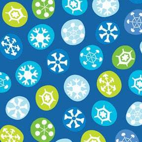 Frosty The Snowman Christmas Holiday Cotton Fabric 44 inches wide.  Blue background fabric with tossed snowflakes in shades of blue white and green