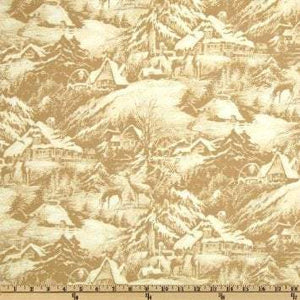 Christmas Holiday Fabric Snowy Christmas Eve Quality Cotton Shades of Brown Gold Cream