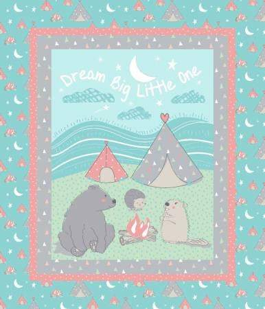 Camp Wee One Children's Fabric Panel 36 x 44 Inches Cotton  Colors in shades of blue, brown, red, green and white