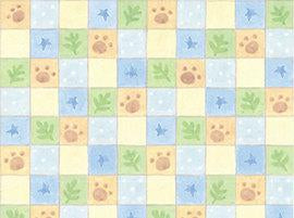 Cuddle Time Children's Cotton Fabric Puppy Paws and checks in brown, blue, yellow and green