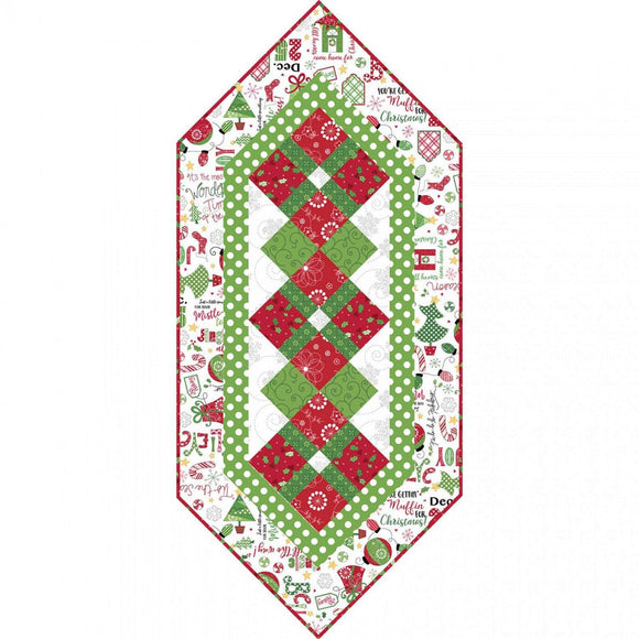 Jingle All The Way Christmas Holiday Table Runner Kit from Maywood Studios 17 x 38.  Traditional holiday colors of red green white
