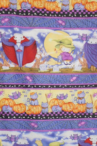 Happy Haunting Halloween children's cotton fabric vertical stripe with vampires witches pumpkins black cats and bats 44 inches wide