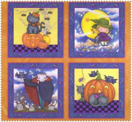 Halloween children's fabric panel Happy Haunting with four squares and characters in each 24 x 44 inches