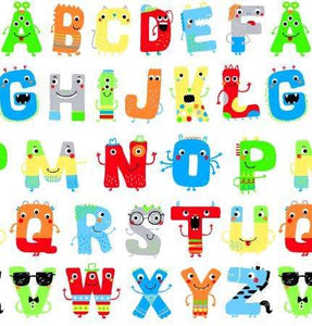 Zoo Mates Children's Cotton Flannel Alphabet Fabric Multi Colors