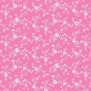 A Bundle of Joy cotton fabric pink background with white flowers