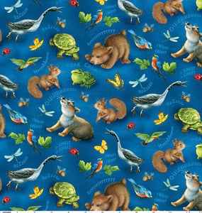 Quiet Bunny And The Night Song Children's Cotton Fabric Multi Woodland Animals on Blue Background