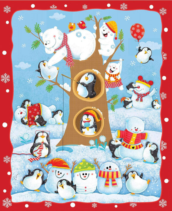 Christmas Holiday Fabric Cotton Panel Penguin Parade with penguins and snowmen in a wintry scene with colors of red blue green brown and white
