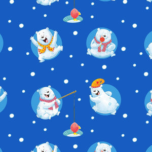 Penguins On Parade Christmas Holiday Cotton Fabric  Multi tossed Polar Bears