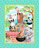 Children's Fabric Panels Bazooples Camp Out Fabric Zoo Animals