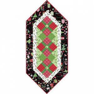 Jingle All The Way Christmas Holiday table runner kit.  Colors of black red green and white.