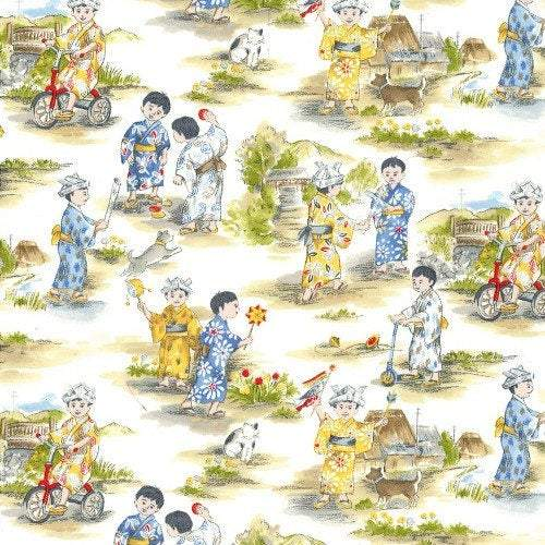 Children's fabric Michael Miller Asian Children cotton