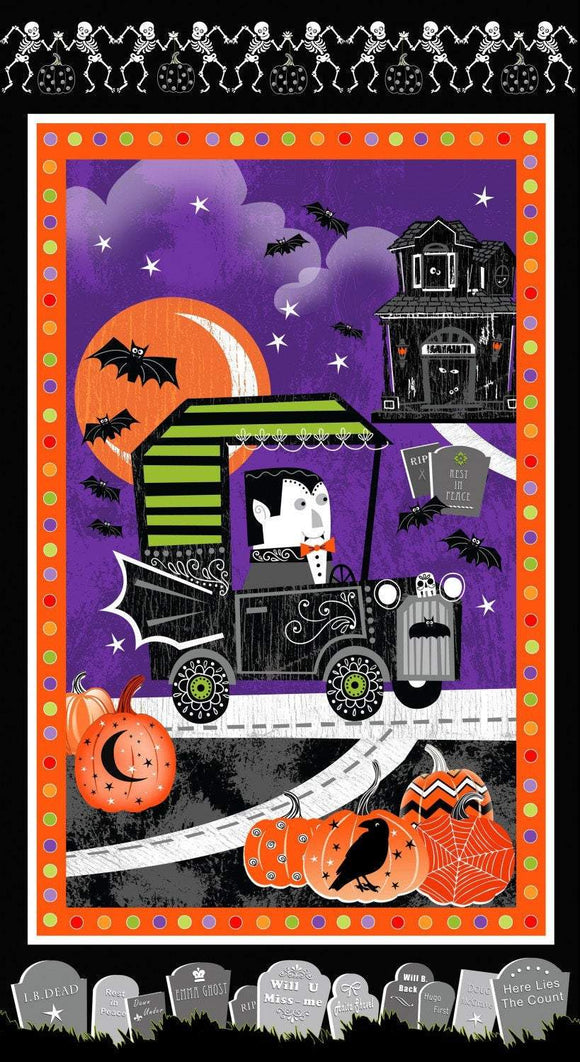 Henry Glass Fangtastic Halloween Fabric Panel Glow In The Dark 24 x 44 Inches.  Vampires and ghouls in purple orange black and green.
