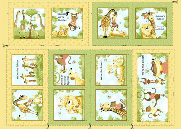 SUSYBEE FABRIC, Fabric Panel Children's Cloth Book, Buddies Storybook  featuring Zoe The Girraffe by Susybee 36 x 42 inches