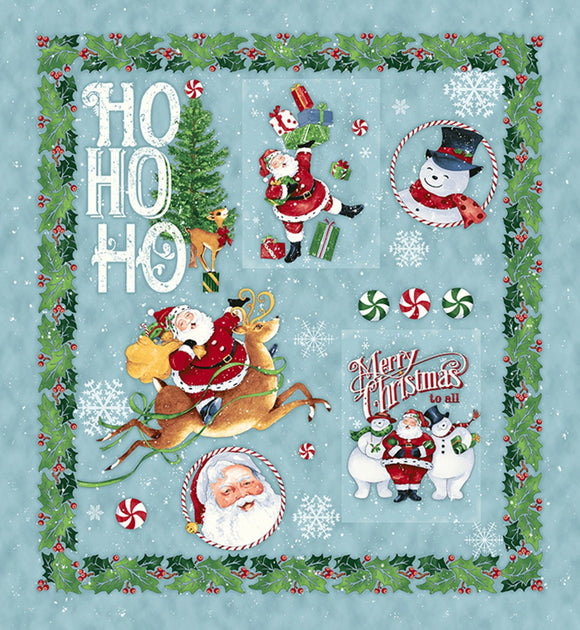 Retro Santa Christmas Holiday Cotton Fabric Panel 27 x 45 Inches.  Santa and Snowmen and Christmas trees in colors of blue green red and gold