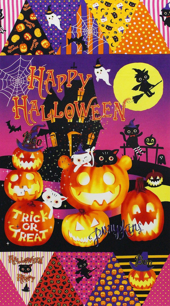 Happy Halloween cotton fabric children's panel 24 x 27 inches from Lecien of Japan in bright colors of purple orange yellow black.