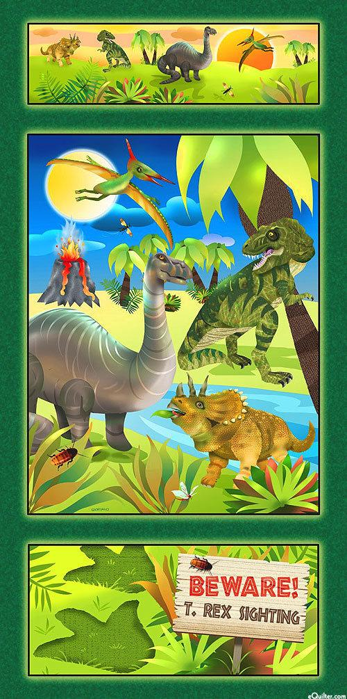 Dino Might Dinosaur Cotton Children's Fabric Panel 24 x 44 inches green blue yellow gold and orange