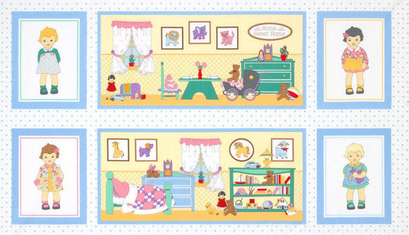 Dolly Jean Children's Fabric Panel 27 x 44 Inches Reproduction fabric pink blue yellow green colors