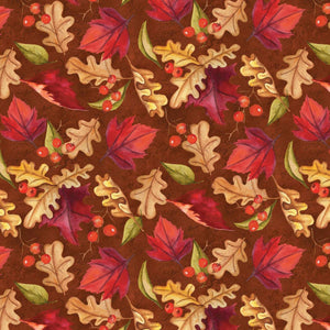 Thankful Harvest Autumn Fall Fabric Leaves And Berries Cream Rust Green