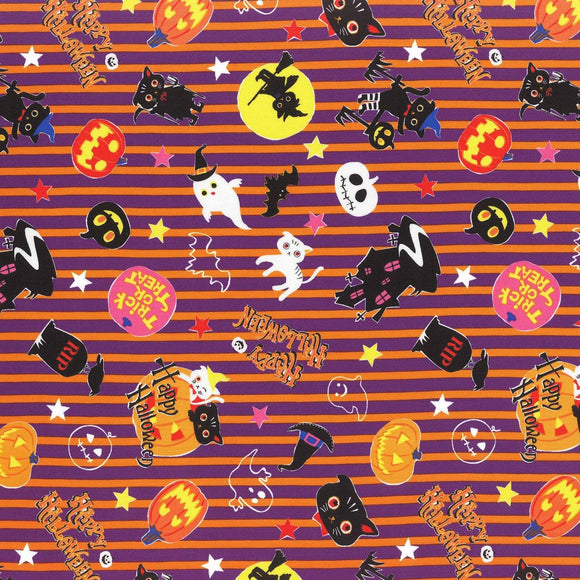 Happy Halloween children's Halloween cotton fabric by Lecien of Japan 42 inches wide.  Bright colors of orange purple black yellow with bats and pumpkins